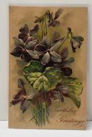 Birthday Wishes Embossed Flowers Postcard B7