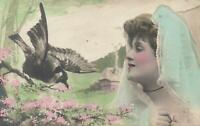 VINTAGE BEAUTIFUL HAND-COLOURED REAL PHOTO LADY and BIRD POSTCARD to Collingwood