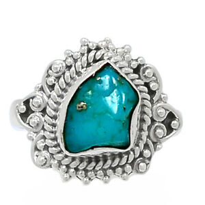 Hand Work - Sleeping Beauty Turquoise Rough 925 Silver Ring s.7.5 BR89142