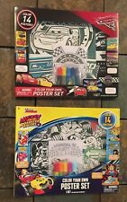 Lot Of 2 New Cars 3 & Mickey Mouse Color Your Own Poster Sets, Coloring Books BN