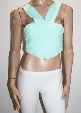 Ally Designer Mint Mesh Lace Ruched Crop Top Size 16-XL BNWT #TA115