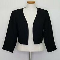 Melissa Collection Women's Lined Black Open Shrug Cropped Blazer Jacket Size 8
