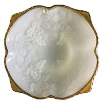Vtg Anchor Hocking White Milk Glass Footed Bowl w/ Gold Trim, Grapes-50th Anniv.