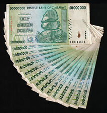 15 x 50 Million Zimbabwe Dollars Bank Notes AA 2008 15PCS Lot Before 500 Million