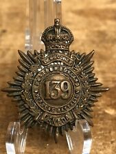 Antique Wwi Northumberland 139th Overseas Battalion Canada Collar Badge