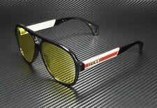 GUCCI GG0463S 001 Aviator Black Green White Yellow 58 mm Men's Sunglasses