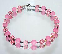 Halskette Kette Würfelkette Perlen rund matt  Würfel klar  Rosa Silber  426d
