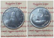 Repubblica Italiana 5 Lire Delfino da Serie o Rotolino dal 1968 al 2001 FDC UNC