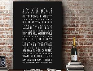 David Bowie Starman | Poster Word Wall Art SONG LYRICS PRINT | CANVAS GIFT