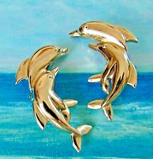 Vntage Dolphin Clip Earrings Silver Large Double Porpoise Fish Nice!