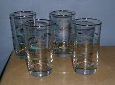4 VTG LIBBEY BARWARE MEDITERRANEAN MCM ATOMIC AQUA SILVER FISH GLASSES TUMBLERS