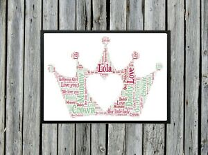 Personalised A4 Word Art Crown Bedroom Childs Gift Photo Picture Print Image