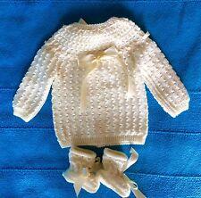 NOUVEAU bébé,brassière-chaussons NAISSANCE écru rubans 🎀 laine hypoallergénique
