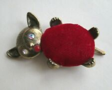 Vintage Sewing Pincushion Kitty Cat Rhinestone Red Velvet Coral Cabochon Figural