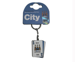 Manchester City FC Official Metal Playing Cards Football Keyring
