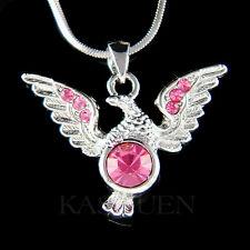 w Swarovski Crystal Pink EAGLE American Bird Hawk Freedom pendant charm Necklace