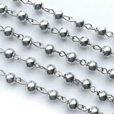 6mm Antique Silver Plated Beaded Rosary Round Ball Metal Eyepin Chain Q2 Feet