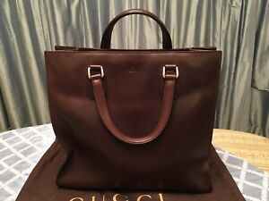 Gucci Leather Men's Tote Handbag Large Dark Brown Italy NEW 281399 ARH0N 2145