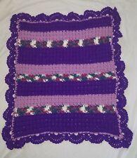 "Handmade Crocheted Afghan Baby Doll Blanket Scallops Approx 31.5"" x 29"""