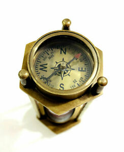 """Antique Brass Sand Timer Hourglass 5"""" with Nautical Maritime Compass on Both End"""