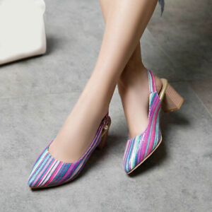 Plus Size 34-50 Womens Pointy Toe Striped Shoes Block Mid Heel Slingback Sandals
