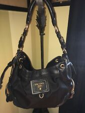 Prada Black Nylon Deer Skin Leather Trim Gold Hardware Shoulder/Tote Bag Sm-Med