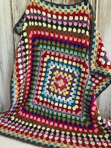 "Handmade Granny Square Crochet Afghan Throw Lap Blanket 35""x35"" Multicolor Retro"