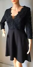 River Island Womens Fit And Flare Party Dress Lace Bodice Uk Size 12 Black BNWT