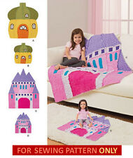 SEWING PATTERN! MAKE GIRL~DOLL MATCHING RAG QUILTS! CASTLE~PRINCESS! ACORN HOUSE