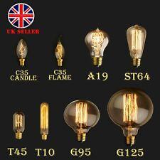 E27 E14 Screw 40W Vintage Antique Retro 60W Light Filament Edison Lamp Bulb