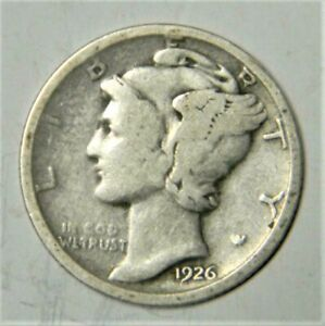 1926 D Mercury Dime circulated 90% Silver  Good G to Very Good VG