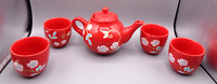 FSG Stoneware Tea Set Red Teapot with Four Tea Cups Lot Floral Flower Pattern