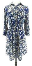 Cabi Womens Jewel Shirt Dress Blue Beige Geometric 3/4 Roll Tab Sleeves Belted S
