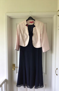Jacques Vert Navy Dress 12 And Pink Jacket 14.  Mother Of Bride. Wedding Monique