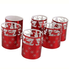 6Pc Christmas Tea Light Candles Holders Paper Candle Lanterns Xmas Decor Gift ca