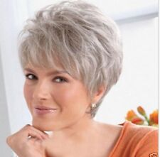 FIXSF263  new  short silver gray straight health hair wigs for women hair wig