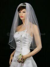 "1T Ivory Bridal Elbow Length 1/8"" Ribbon Edge Wedding Veil"
