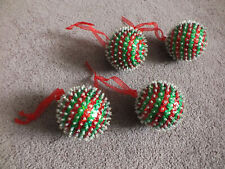 """Collectible Holiday Christmas 2 1/2"""" Ornament Set 4 Red Green Sequins Red Hange"""