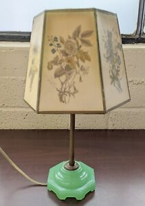 "Vintage 12"" Table Lamp and Shade with Jadeite Base (3lb)"