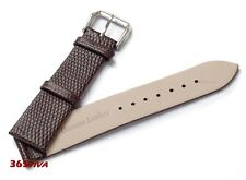 18mm Brown Genuine Leather Cowhide Lizard Grain Thin Watch Strap Bracelet Band