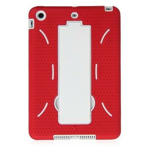 Hybrid Case Cover Armor Red Shockproof +Stand For Apple Ipad Mini 1 / 2 / 3