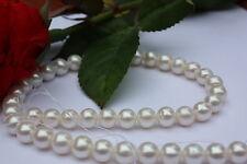 RU1 8,5-9,5mm AA rund Zuchtperlen Strang Süßwasser Perle Schmuck Halskette Kette