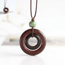 Ceramics Brown Rope Chain Double-circle Pendant Wood Necklace Long