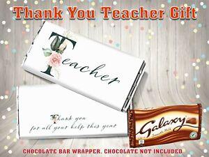 Thank You Teacher Galaxy Chocolate Bar Wrapper End of Term Gift