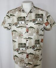 Vintage Fishing Theme Shirt 100% Cotton Button Front Pole Box Permit Men L 41-43
