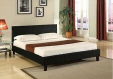 Queen Size PU Leather Bed Frame Black New