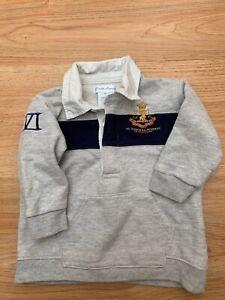 Boys Ralph Lauren 100% cotton Sweatshirt Rugby Shirt Top Grey 9M Size 9 months