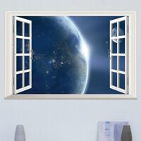 3D Weltraum Planet Fenster Erde Wandsticker Wandtattoo Wandaufkleber Aufkleber