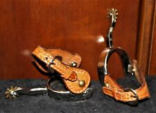 Western Partrade Spurs Metalab and Engrave Leather Straps w/Brass Blunt Rowels.