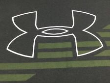 Under Armour Large L Loose Heat Gear T-shirt Black Big Logo